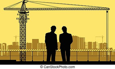 Two engineers and a construction site..eps