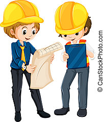 Two engineers planning