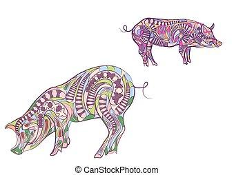 two ethnic pigs