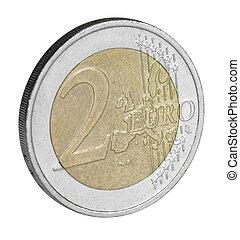 two euro coin closeup