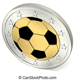 Two Euro coin with soccer ball black from above