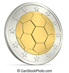 Two Euro coin with soccer ball from below