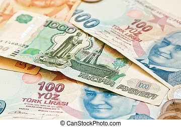 Two european currencies - Russian ruble and Turkish Lira