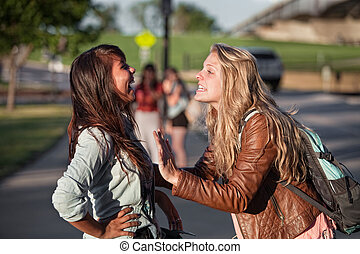 Two Excited Students Talking - Two excited female teenage...