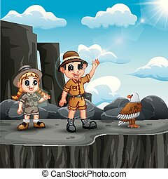 Two explorer kid on the cliff with a bird