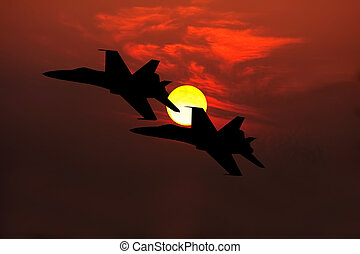 fighter jets silhouette - two F-18 Hornet fighter jets...