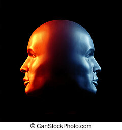 Two-faced head statue suggesting extremes or split personality. Fire & Ice.