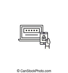 two factor authentication vector line icon, sign, illustration on background, editable strokes