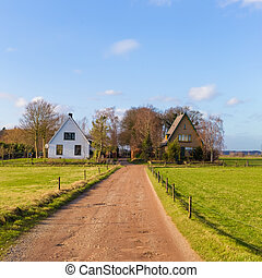 Two farm houses in the Netherlands country side on a sunny...