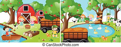 Two farm scenes with kids and animals
