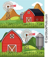 Two farm scenes with red barn