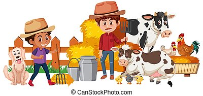 Two farmers and farm animals on white background