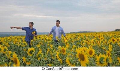two farmers men business smartphone explore walking...