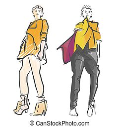 Two Fashion Models Colored Sketch