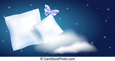 Two white feather pillow for sleeping against the starry night sky and cloud