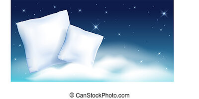 Two feather pillow against the starry night sky and cloud - ...