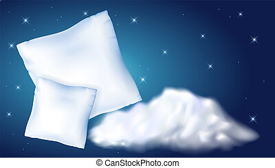 Two feather pillow against the starry night sky and cloud -...
