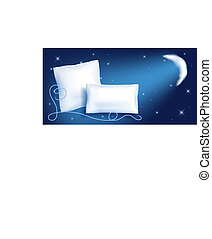 Two feather pillow against the starry night sky and moon -...