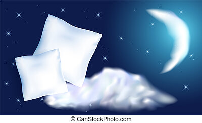 Two feather pillow against the starry night sky, moon and...