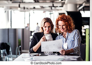 Two female business people sitting in an office, talking.