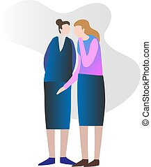 Two female friends gossiping and secretly spreading private news. Whispering in the ear and discussing rumors. Conceptual modern and simple vector illustration.