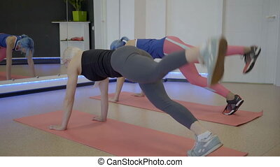 Two female friends have a personal fitness training in the...