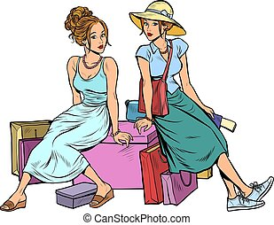 Two female friends sitting on the shopping
