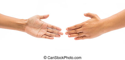 Two female hands about to shake hands