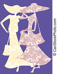 Two female silhouette - There are two female decorative...