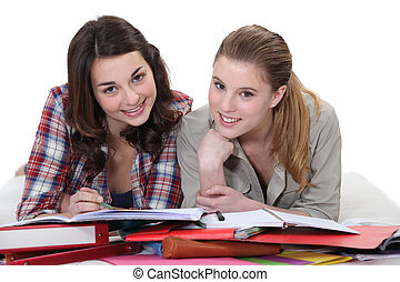 Two female students revising together