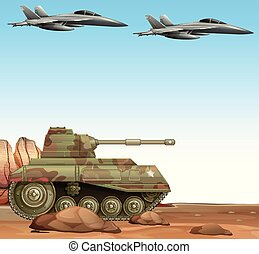 Two fight jets and military tank in battle field