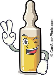 Two finger ampoule character cartoon style vector...