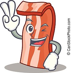 Two finger bacon character cartoon style vector illustration