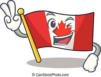 Two finger canadian flag fluttering on mascot pole