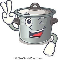 Two finger cartoon cookware stock pot in kitchen vector...
