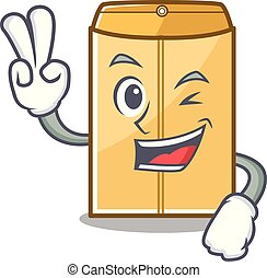 Two finger cartoon envelope mailer in the bag