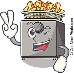 Two finger character deep fryer on restaurant kitchen vector...