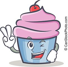 Two finger cupcake character cartoon style