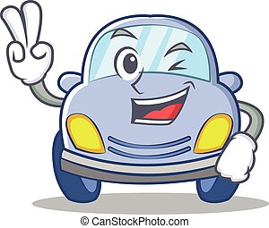 Two finger cute car character cartoon vector illustration
