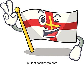 Two finger flag guernsey with the cartoon shape vector illustration