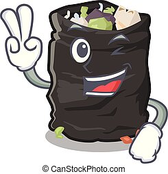 Two finger garbage bag in the cartoon shape vector illustration