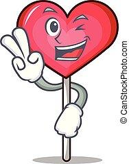 Two finger heart lollipop character cartoon vector ...