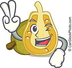 Two finger jackfruit character cartoon style vector...