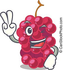 Two finger mulberry in the character fruit basket vector...