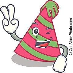 Two finger party hat character cartoon vector illustration