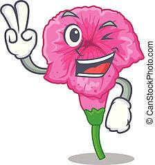 Two finger petunia flowers on the stalk cartoons vector illustration