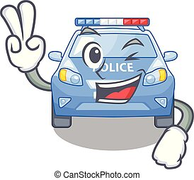 Two finger police car in the shape character