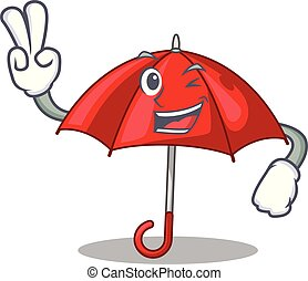 Two finger red umbrellas isolated in a mascot
