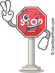 Two finger sign stop cartoon side street mascot