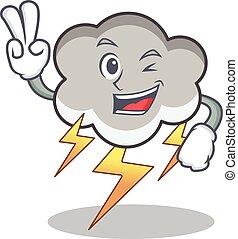 Two finger thunder cloud character cartoon vector...